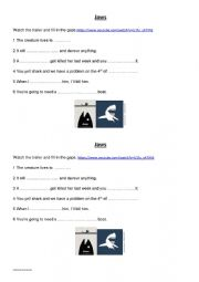 English Worksheet: JAWS-The Trailer