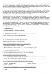 English Worksheet: comprehension