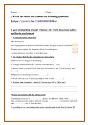 English Worksheet: Vitamin N