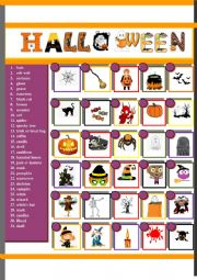 English Worksheet: Halloween Pictionary