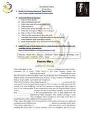 English Worksheet: Halloween Story - Bloody Mary