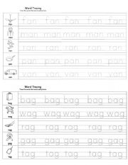 Short Vowel A Tracing Worksheet