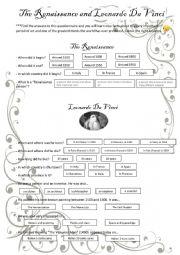 English Worksheet: THE RENAISSANCE AND LEONARDO DA VINCI