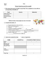English Worksheet: Street food around the world