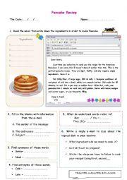 English Worksheet: Pancake