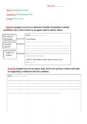 English Worksheet: agony aunt worksheets