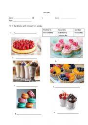 English Worksheet: Dessert