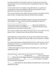 English Worksheet: Ayrton Senna, Indira Gandhi
