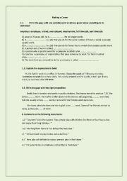 English Worksheet: Making a career