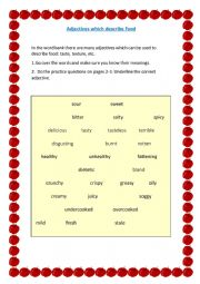English Worksheet: Adjectives to describe food