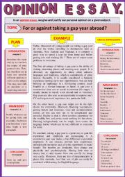 English Worksheet: Opinion essay - For or against taking a gap year abroad? Guided writing + Example