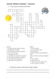English Worksheet: Crossword Weather Vocabuly