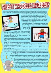 ´THE BOY WHO COULD NEVER SLEEP´ reading + comprehension (expressions and phrasal verbs) with exercises