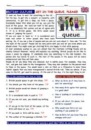 English Worksheet: British Culture: get in the queue