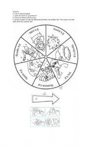 English Worksheet: Weather wheel Weather Spinner