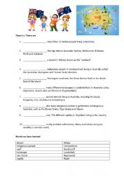 English Worksheet: Australia DAY there is there are
