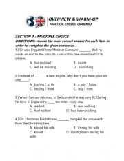 English worksheet: overview