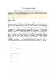 English Worksheet: FCE - Reading - part 2