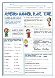 English Worksheet: Adverbs of Place, Time and Manner