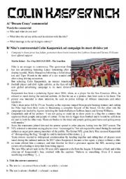 English Worksheet: Colin Kaepernick