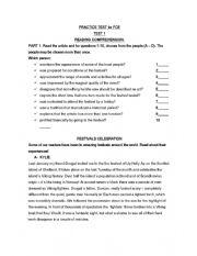 English Worksheet: FCE reading and use of english practice