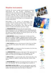 English Worksheet: Weather instruments reading