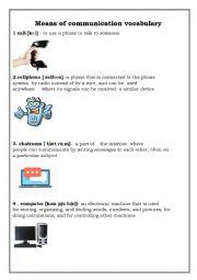 English Worksheet: Means of communication. Vocabulary