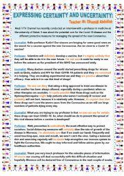 English Worksheet: CORONAVIRUS CERTAINTY UNCERTAINTY