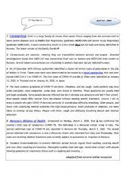 English Worksheet: Corona Virus ( Covid 19)