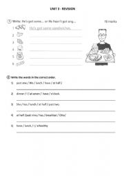 English Worksheet: revision Happy street 2 Unit 3: some, any, telling the time, does/doesn�t like, food