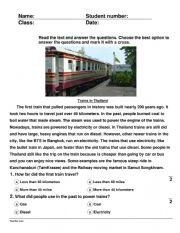 English Worksheet: Trains in Thailand