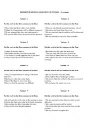 English Worksheet: Sequence of tenses exercises