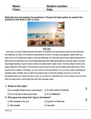 English Worksheet: Koh Lipe Thailand