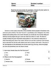English Worksheet: Tuk Tuk Taxi Thailand