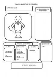 English Worksheet: ENVIRONMENTAL SUPERHERO