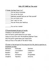 English Worksheet: can - Hall of fame song