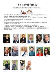 English Worksheet: Royal Reduced family tree for Georges and Charlotte