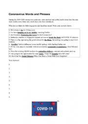 English worksheet: Coronavirus Words and Phrases