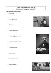 English Worksheet: Racial segregation & the Civil Rights Movement in the US