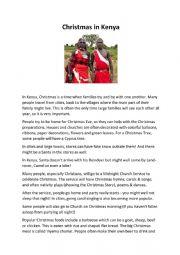 English Worksheet: Christmas in Kenya