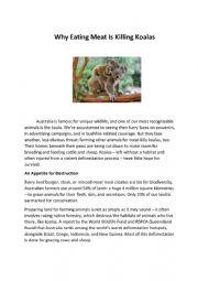 English Worksheet: Why Eating Meat is Killing Koalas