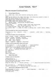 English worksheet: FUNCTIONAL TEXT