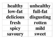 English Worksheet: Flashcards, food adjectives