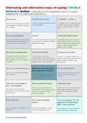 English Worksheet: Alternative ways to say: I think; I believe; I reckon