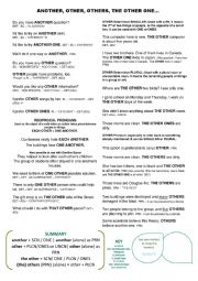 English Worksheet: Do you have another question? OTHER/ANOTHER determiner & pronoun
