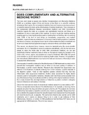 English Worksheet: READING-DOES COMPLEMENTARY AND ALTERNATIVE MEDICINE WORK