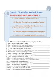 English Worksheet: Complex Object with Verbs of Senses