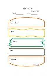 English Worksheet: English Writing Map ---- Hamburger Style