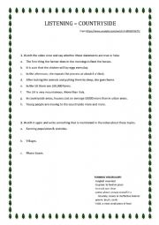 English Worksheet: Listening A1 A2 (Countryside in the UK)