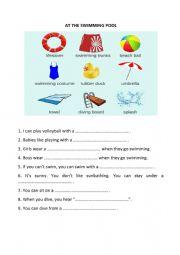 English Worksheet: At the swimming pool